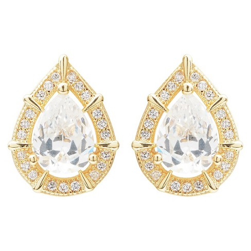 2 3/4 CT. T.W. Journee Collection Pear Cut CZ Basket Set Stud Earrings in Brass - Gold - image 1 of 3