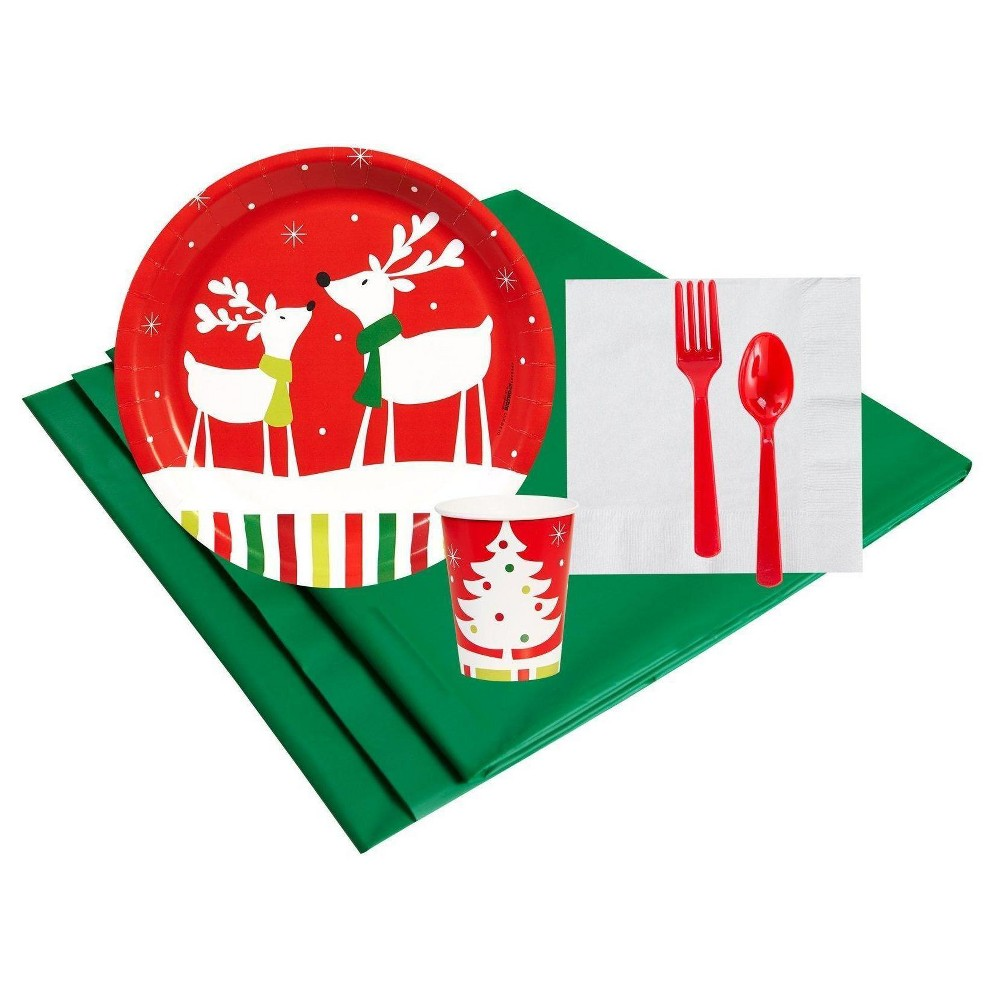 Reindeer Christmas Party 16 Guest Red Party Pack