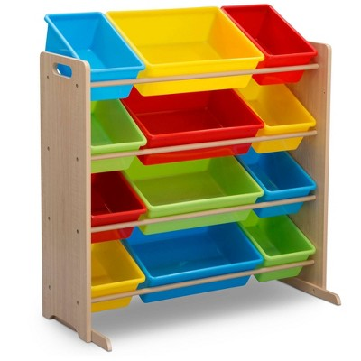 Delta Children Kids' Toy Storage Organizer with 12 Plastic Bins