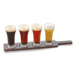 Libbey Craft Brew Beer Flight Glasses 6oz with Wooden Carrier - 5pc Set