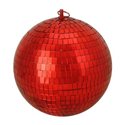 "Northlight Shiny Red Hot Mirrored Disco Glass Christmas Ball Ornament 8"" (200mm)"