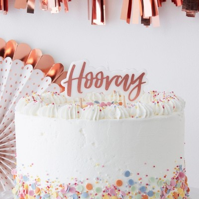 """""""Hooray"""" Party Candle Rose Gold"""
