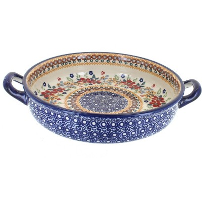 Blue Rose Polish Pottery Red Daisy Small Round Baker With Handles