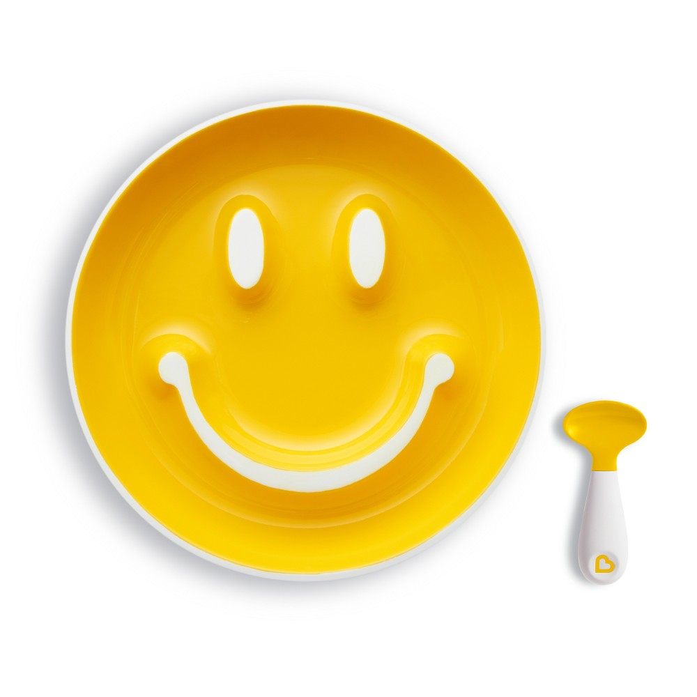 Image of Munchkin Smile 'n Scoop Toddler Suction Plate & Training Spoon Feeding Set - Yellow