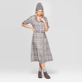 Women's Plaid Long Sleeve Midi Shirtdress with Tie Belt - Universal Thread™ Gray XXL