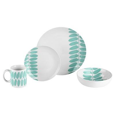 Bzyoo® Coppa 16pc Dinnerware Set Mint Leaf