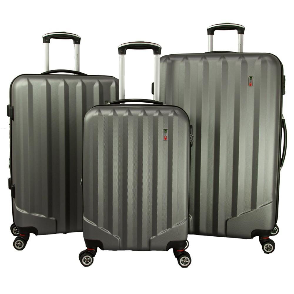 Villagio Radiance 3pc Hardside Spinner Luggage Set - Gray
