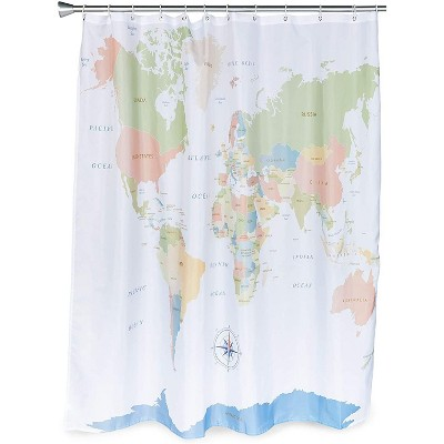 World Map Shower Curtain Set with 12 Hooks for Bathroom (70 x 71 Inches)