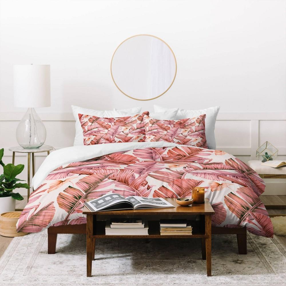 King Marta Barragan Camarasa Jungle Paradise Duvet Set Pink Deny Designs