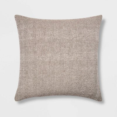 Oversized Square Woven Herringbone Pillow Neutral - Threshold™
