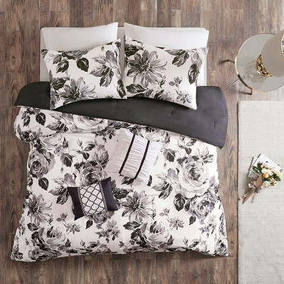 Full/Queen 5pc Hannah Floral Print Comforter Set Black/White