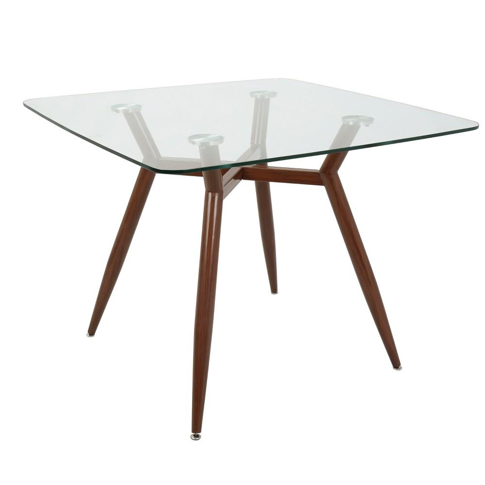 Best Online Clara Mid Century Modern Square Dining Table Walnut Brown LumiSource