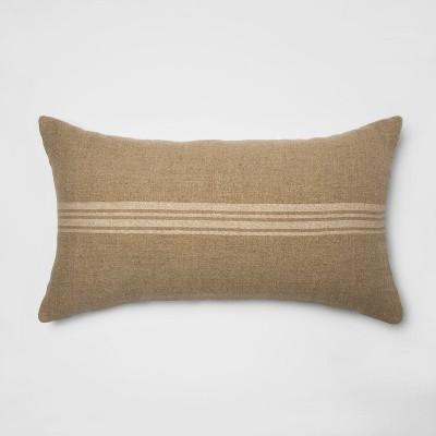 Washed Cotton/Linen Stripe Oversize Lumbar Throw Pillow Neutral - Threshold™