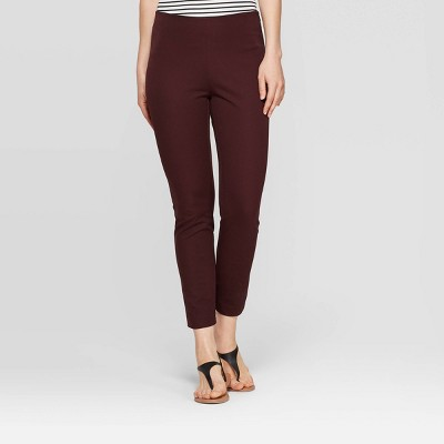 Women's Regular Fit High-Rise Skinny Ankle Pants - A New Day™ Burgundy 2
