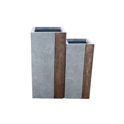 Set of 2 Kante Lightweight Tall Outdoor Square Concrete Planter Timber Ridge Gray - Rosemead Home & Garden, Inc.