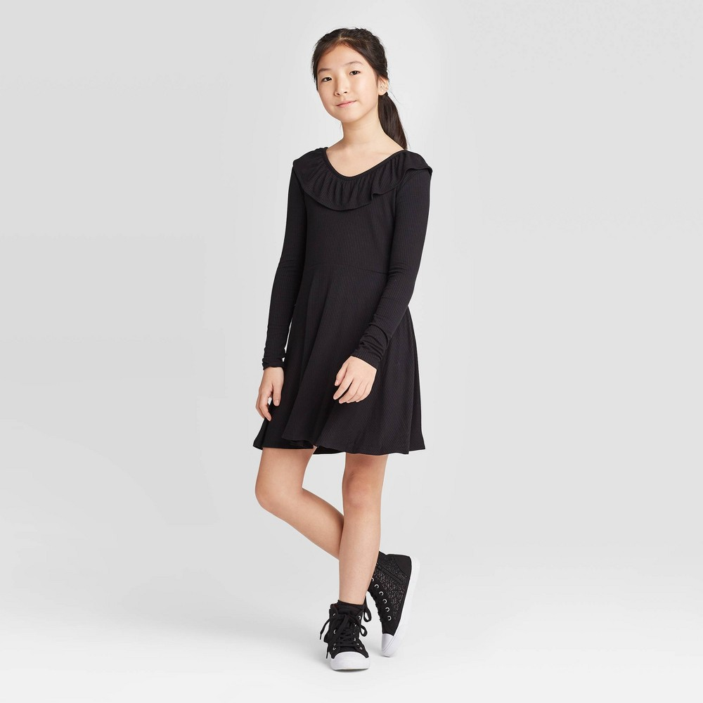 Girls' Long Sleeve Rib Ruffle Neck Dress - art class Black L, Girl's, Size: Large was $16.99 now $5.94 (65.0% off)