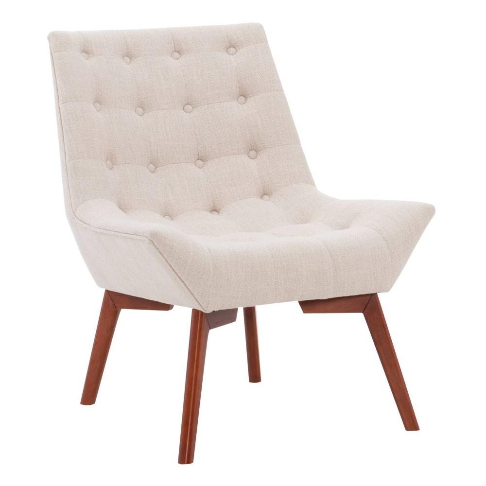Serena Accent Chair Tufted Linen Beige Linon