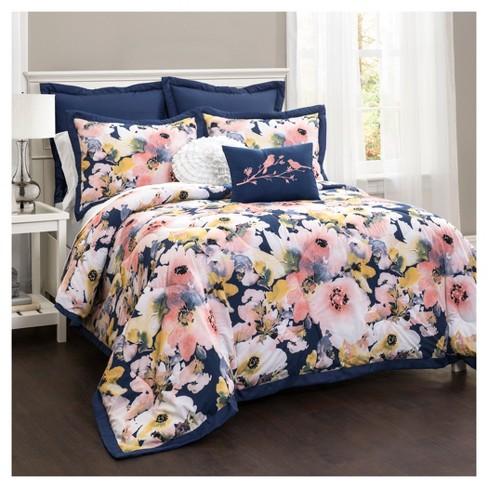 Blue Fl Watercolor Comforter Set Full Queen 7pc Lush Decor Target