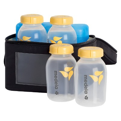 Medela Breast Milk Cooler Set with 4 Bottles & Lids, Cooler and Ice Pack