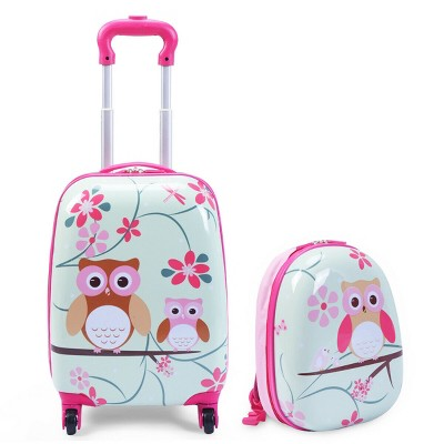 Costway 2Pc 12'' 16'' Kids Luggage Set Suitcase Backpack School Travel Trolley ABS