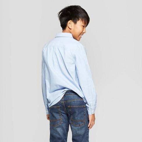5549df2e92d3f Boys  Long Sleeve Button-Down Shirt - Cat   Jack™ Blue   Target