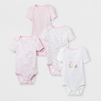 Baby Girls' 4pk Short Sleeve Bodysuit - Cloud Island™ White Newborn