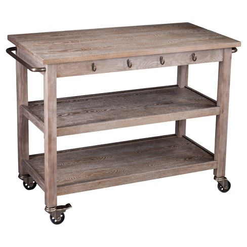 Donley Industrial Kitchen Cart - Whitewashed Burnt Oak - Aiden Lane - image 1 of 5
