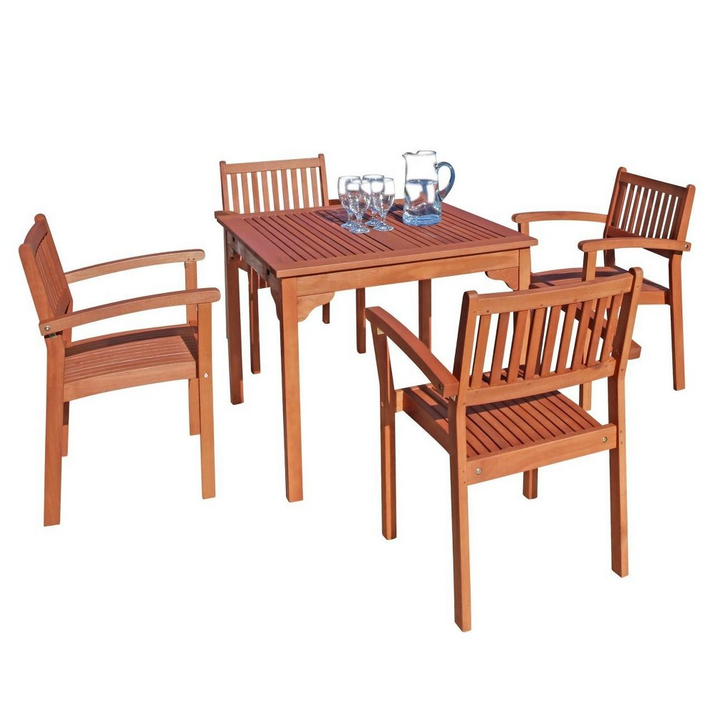 Image of 5pc Square Wood Patio Dining Set - Brown - Vifah