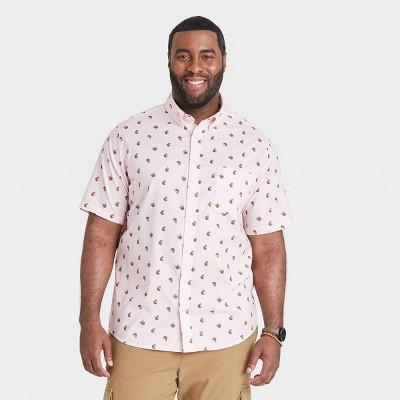 Men's Big & Tall Standard Fit Stretch Poplin Short Sleeve Button-Down Shirt - Goodfellow & Co™