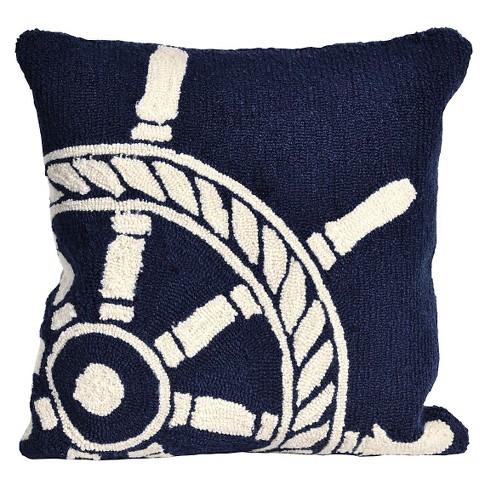 Navy Ship Wheel Throw Indoor Outdoor Throw Pillow 18 X18 Liora