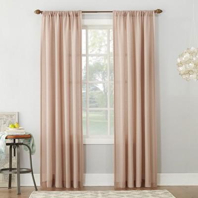 Linen Blend Textured Sheer Rod Pocket Curtain Panel Blush 54 x63  - No. 918