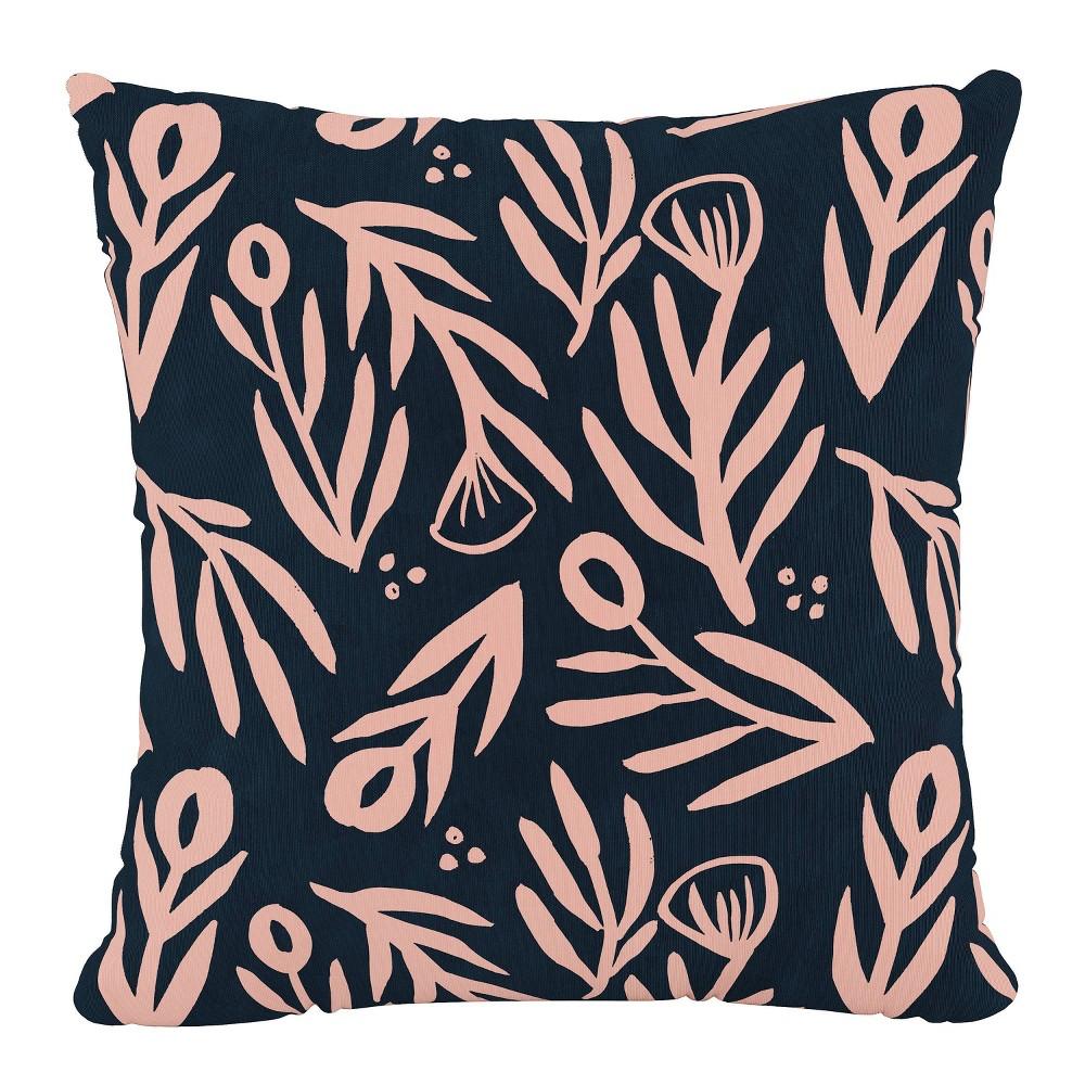 18 34 X 18 34 Outdoor Throw Pillow Bold Floral Navy Pink Skyline Furniture