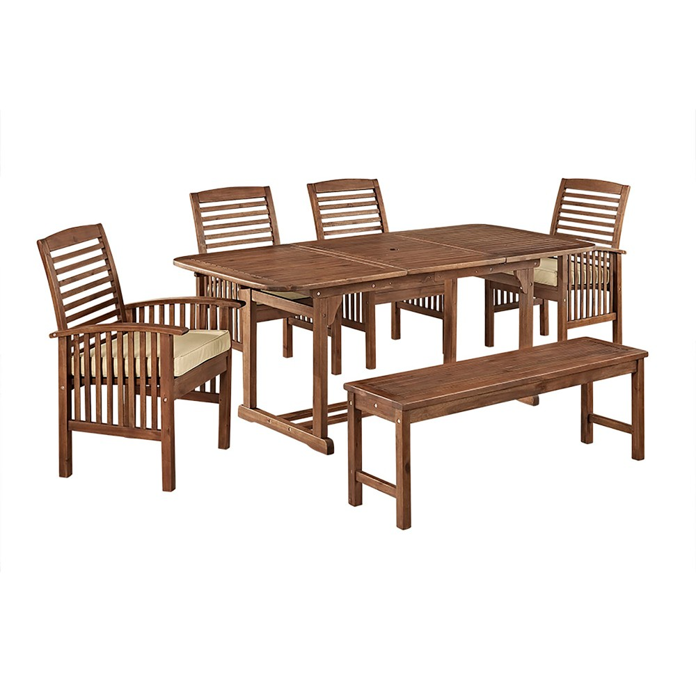 6pc Acacia Patio Dining Set with Cushions - Dark Brown - Saracina Home