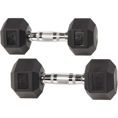 Sporzon Exercise Equipment Rubber Encased Pair of Hexagon Handheld Weight Dumbbells with Contoured Non Slip Handles for Home Fitness, 15 Pounds