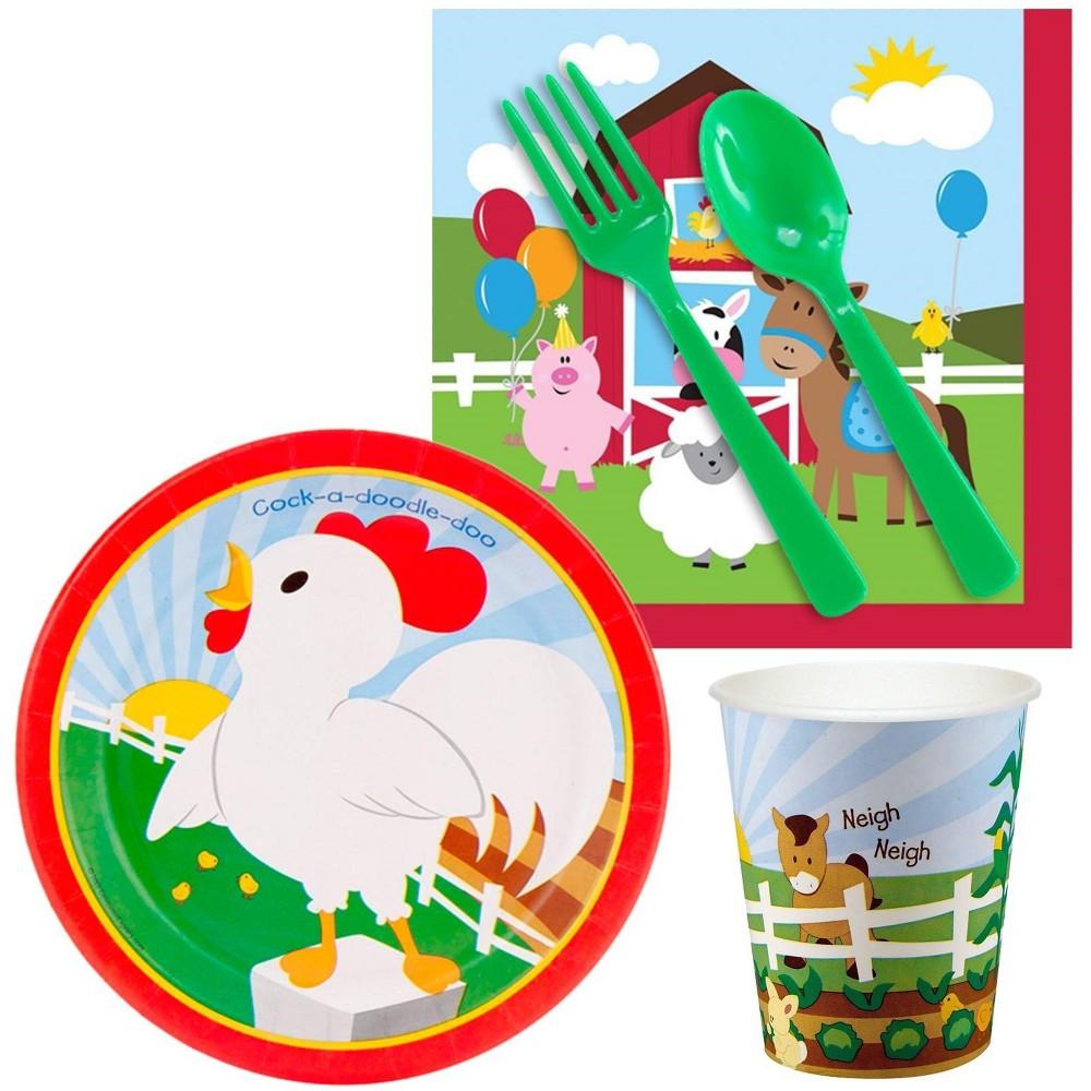 Image of 16ct Barnyard Snack Pack, disposable dinnerware sets