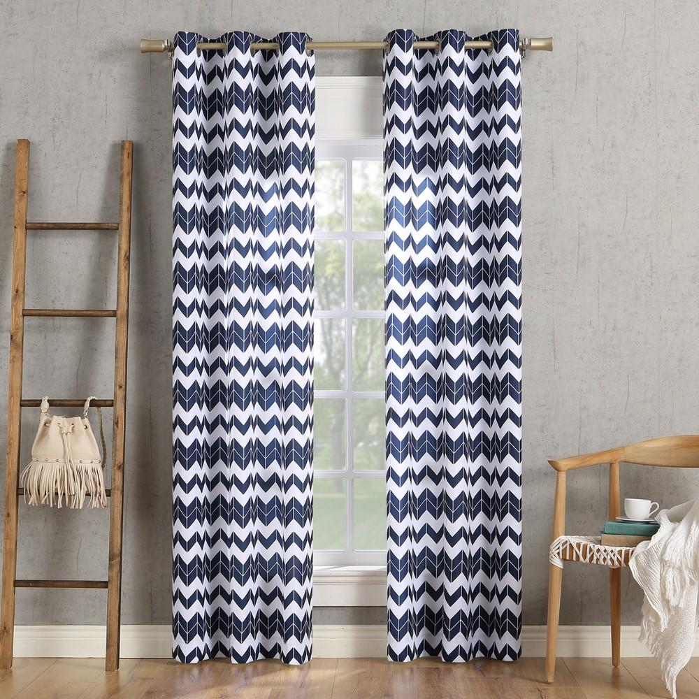 Image of 40x63 Kai Chevron Semi-Sheer Grommet Curtain Panel Navy-No. 918, Blue