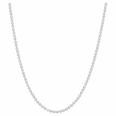 Tiara Sterling Silver Diamond-cut Ball Chain Necklace