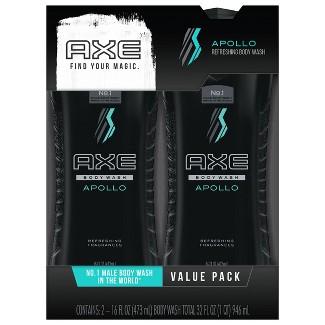 Axe Apollo Shower Gel 16 oz, Twin Pack