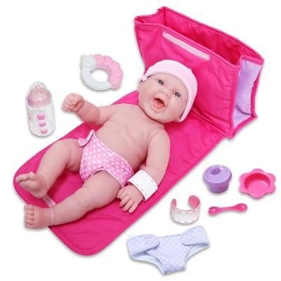 "JC Toys La Newborn 13"" Baby Doll with 7pc Diaper Bag Set"