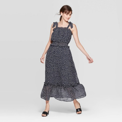 Women's Sleeveless Square Neck Shoulder Tie Column Maxi Dress - Who What Wear™ - image 1 of 3