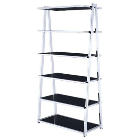 Decorative Bookshelf 71 Black Chrome