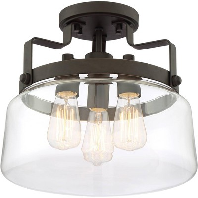 """Franklin Iron Works Farmhouse Ceiling Light Semi Flush Mount Fixture Bronze 13 1/4"""" Wide Clear Glass Bedroom Kitchen Living Room"""