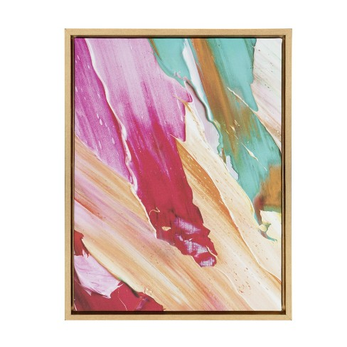 """Kate & Laurel 24""""x18"""" Sylvie Lush Color Acrylic Print Portrait Framed Wall Canvas Gold - image 1 of 4"""