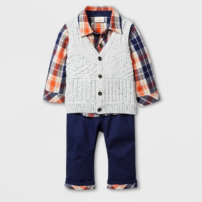 Baby Boys' 3pc Plaid Collared Long Sleeve Button-Down Shirt, Sweater Vest, and Twill Pants Set - Cat & Jack™ Blue 6-9M