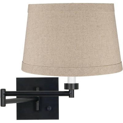 Franklin Iron Works Modern Swing Arm Wall Lamp Espresso Plug-In Light Fixture Natural Linen Drum Shade for Bedroom Bedside Reading