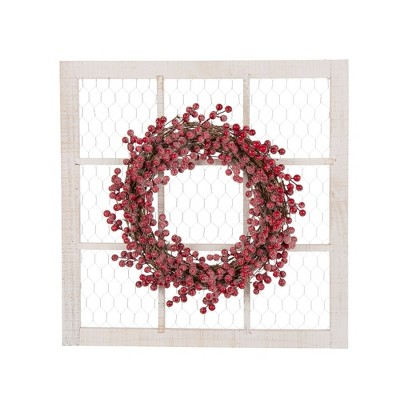 """24"""" Wooden Frame with Floral Christmas Wreath - Glitzhome"""