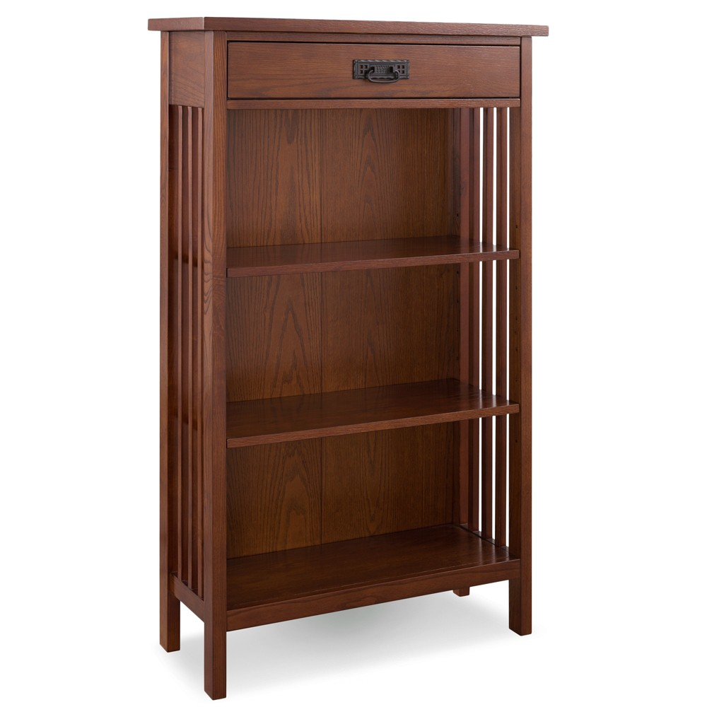"Image of ""50"""" 3 Shelf Bookcase Slatted Mantel Height Mission Oak - Leick Home, Brown"""