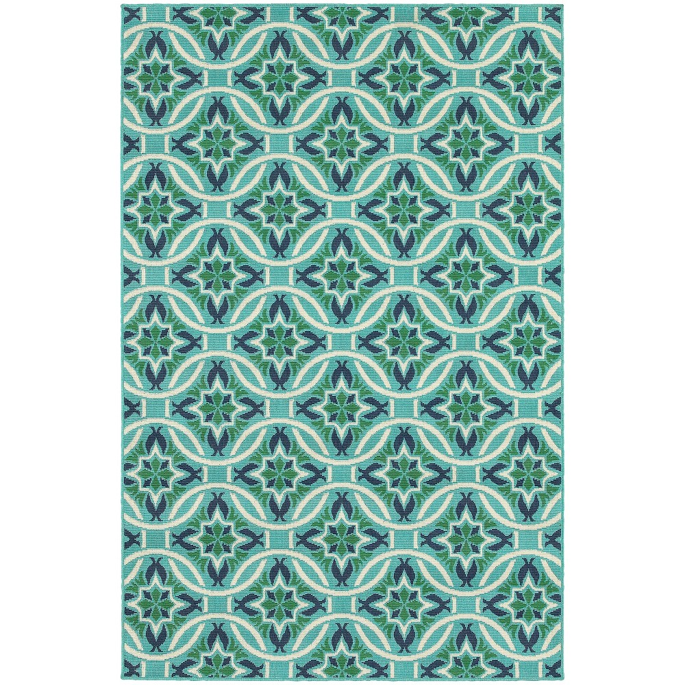 "Image of ""1'10""""X2'10"""" Marlowe Floral Lattice Patio Rug Blue/Green, Size: 1'10""""X2'10"""""""