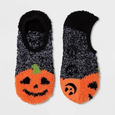 Women's Jack O Lantern Cozy Halloween Pull On Socks   Black One Size by Target