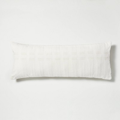 """16"""" x 42"""" Dash Stripe Oversized Lumbar Bed Pillow Beige - Hearth & Hand™ with Magnolia"""